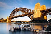 australia stock photography | Sydney Harbour Bridge from Kirribilli at Dawn, Sydney, New South Wales (NSW), Australia, Image ID AU-SYDNEY-HARBOUR-BRIDGE-0017. Copes Lookout in Kirribilli suburb of Sydney, New South Wales (NSW), Australia offers a magnificent view of the Sydney Harbour Bridge with Jeffrey Street wharf in the front. It is a very popular wedding ceremony place and wedding venue.