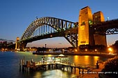 australia stock photography | Harbour Bridge from Kirribilli after Sunset, Sydney, New South Wales (NSW), Australia, Image ID AU-SYDNEY-HARBOUR-BRIDGE-0025. Sydney Harbour Bridge with Jeffrey Street wharf from the Copes Lookout after sunset in Kirribill, Sydney, New South Wales (NSW), Australia.
