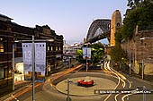 australia stock photography | Sydney Harbour Bridge at Dusk from Finger Wharf, Sydney, New South Wales (NSW), Australia, Image ID AU-SYDNEY-HARBOUR-BRIDGE-0029. Dawes Point is a suburb of the City of Sydney, in the state of New South Wales, Australia. Dawes Point is located on the north-western edge of the Sydney central business district, at the southern end of Sydney Harbour Bridge, adjacent to The Rocks. Pottinger Street in Dawes Point offers spectacular views of Sydney Harbour Bridge and Finger Wharf.