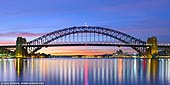 australia stock photography | Sydney Harbour Bridge before Sunrise, A View from Blues Point Reserve, Sydney, New South Wales (NSW), Australia, Image ID AU-SYDNEY-HARBOUR-BRIDGE-0038. Panoramic image of the Sydney Harbour Bridge at twilight before all highlights were turned off as it was seen from the Blues Point Reserve in North Sydney, NSW, Australia.