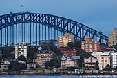 australia stock photography | Sydney Harbour Bridge and Apartments at Kirribilli at Dawn, View from Cremorne Point, Sydney, New South Wales, Australia, Image ID AUHB0026.