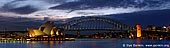 australia stock photography | Harbour Bridge and Opera House at Night, Mrs.Macquaries Chair, Sydney, New South Wales (NSW), Australia, Image ID AUHB0035.