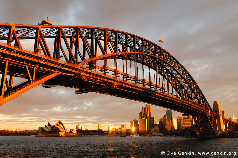 australia stock photography | Sydney Harbour Bridge and Opera House at Sunset, Sydney, New South Wales (NSW), Australia