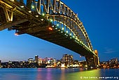 australia stock photography | Sydney Harbour Bridge at Dusk, Sydney, New South Wales (NSW), Australia, Image ID AU-SYDNEY-HARBOUR-BRIDGE-0005. Iconic Sydney Harbour Bridge is beautifully illuminated at dusk as it crosses the Sydney Harbour while North Sydney glows in the background.