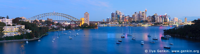 australia stock photography | Panoramic View of Sydney City at Dusk, A View from Waverton, Sydney, NSW, Australia, Image ID AU-SYDNEY-HARBOUR-BRIDGE-0007