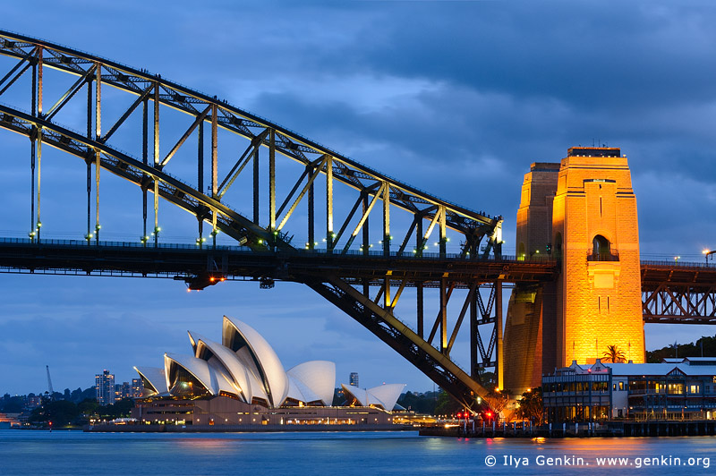 australia stock photography | Sydney Harbour Bridge and Opera House at Night, Sydney, New South Wales (NSW), Australia, Image ID AU-SYDNEY-HARBOUR-BRIDGE-0011
