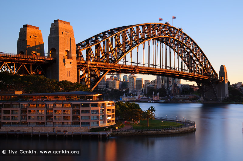 australia stock photography | Sydney Harbour Bridge and The Park Hyatt Hotel at sunrise, Sydney, New South Wales (NSW), Australia, Image ID AU-SYDNEY-HARBOUR-BRIDGE-0015