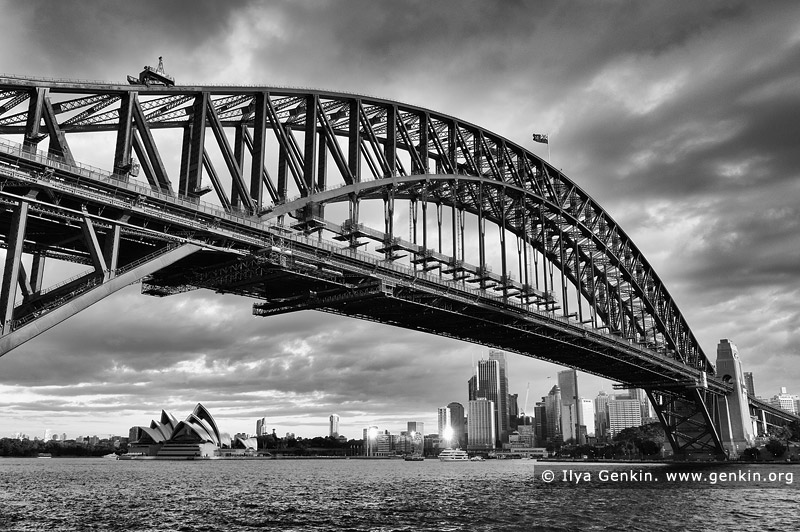 Australia photo landscape art print Sydney harbour opera house black white
