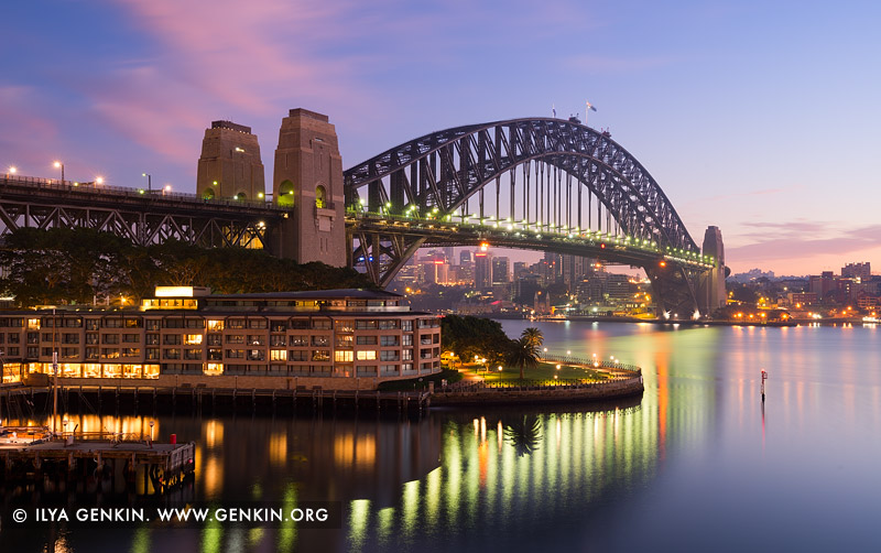 australia stock photography | Sydney Harbour Bridge and The Park Hyatt Hotel at Dawn, Sydney, New South Wales (NSW), Australia, Image ID AU-SYDNEY-HARBOUR-BRIDGE-0032