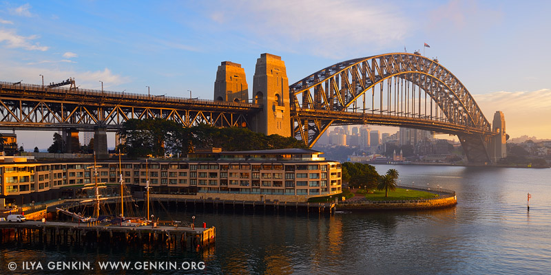 Sydney Harbour Bridge and The Park Hyatt Hotel at sunrise, Sydney, New South Wales, Australia