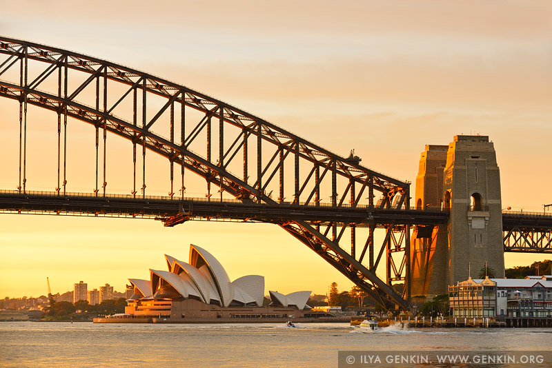 australia stock photography | Sydney Harbour Bridge and Opera House at Sunrise, A View from Blues Point Reserve, Sydney, New South Wales (NSW), Australia, Image ID AU-SYDNEY-HARBOUR-BRIDGE-0039