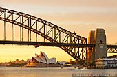 australia stock photography | Sydney Harbour Bridge and Opera House at Sunrise, A View from Blues Point Reserve, Sydney, New South Wales (NSW), Australia, Image ID AU-SYDNEY-HARBOUR-BRIDGE-0039. Stock image of the Sydney Harbour Bridge and Sydney Opera House at sunrise.