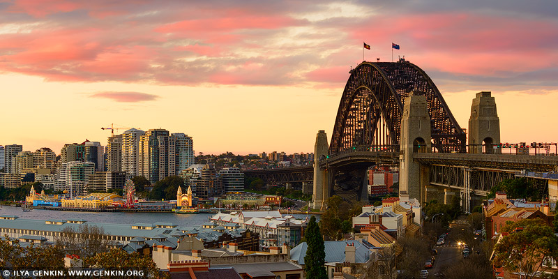 australia stock photography | Sydney Harbour Bridge and Vivid Sunset, Observatory Hill, Sydney, New South Wales (NSW), Australia, Image ID AU-SYDNEY-HARBOUR-BRIDGE-0042