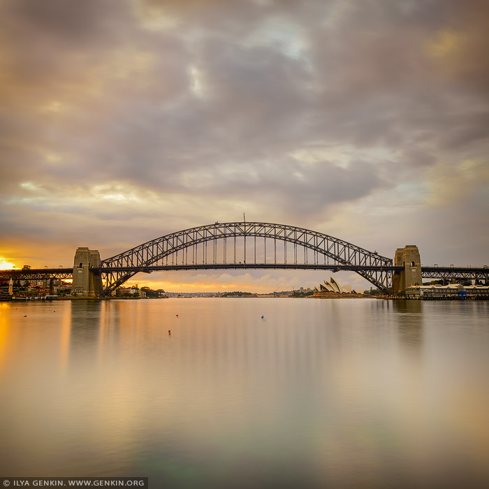 australia stock photography | Sydney Harbour Bridge at Sunrise Before Storm, A View from Blues Point Reserve, Sydney, New South Wales (NSW), Australia, Image ID AU-SYDNEY-HARBOUR-BRIDGE-0044