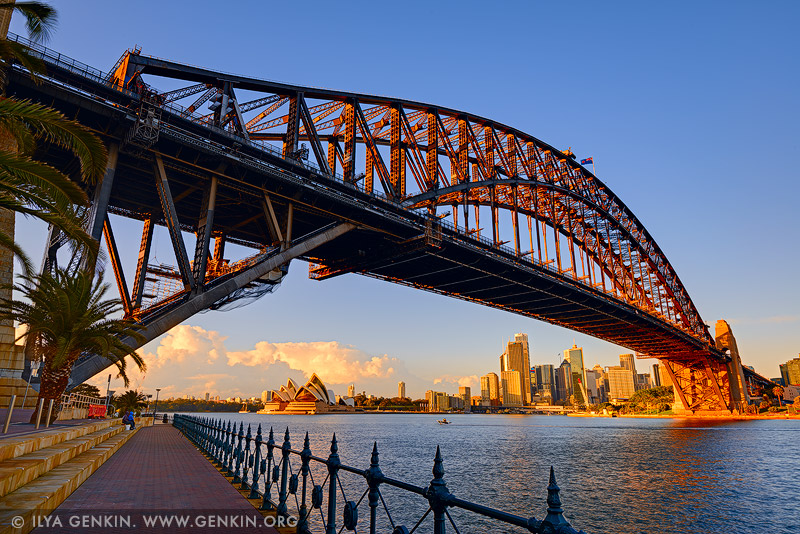australia stock photography | Harbour Bridge and Sydney Opera House at Sunrise, Milsons Point, Sydney, NSW, Australia, Image ID AU-SYDNEY-HARBOUR-BRIDGE-0045