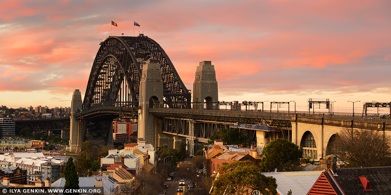 australia stock photography | Sydney Harbour Bridge at Dramatic Sunset, Observatory Hill, Sydney, New South Wales (NSW), Australia, Image ID AU-SYDNEY-HARBOUR-BRIDGE-0046
