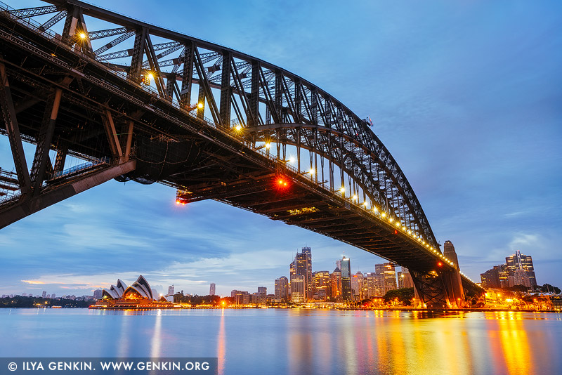 australia stock photography | Sunrise at Harbour Bridge and Sydney Opera House, Milsons Point, Sydney, NSW, Australia, Image ID AU-SYDNEY-HARBOUR-BRIDGE-0049