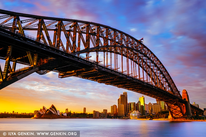 australia stock photography | Sunrise at Harbour Bridge and Sydney Opera House, Milsons Point, Sydney, NSW, Australia, Image ID AU-SYDNEY-HARBOUR-BRIDGE-0051