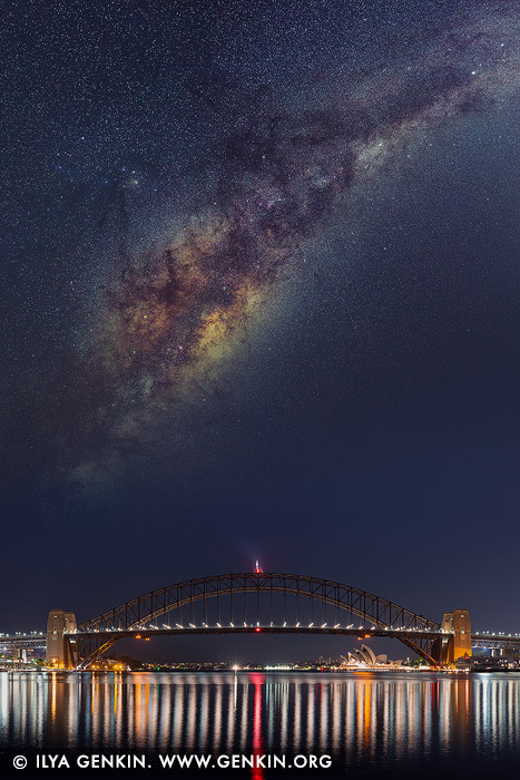 australia stock photography   Sydney Harbour Bridge and Opera House with Milky Way Rising Above, A View from Blues Point Reserve, Sydney, New South Wales (NSW), Australia, Image ID AU-SYDNEY-HARBOUR-BRIDGE-0052