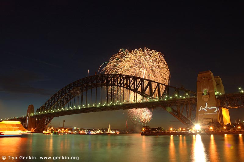 australia stock photography | New Year Eve Fireworks over Sydney Harbour Bridge, View from Kirribilli, Sydney, New South Wales, Australia, Image ID AUHB0001