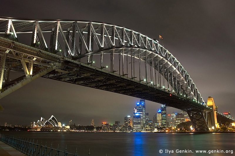 australia stock photography | Harbour Bridge at Night from Luna Park, Sydney, New South Wales, Australia, Image ID AUHB0003