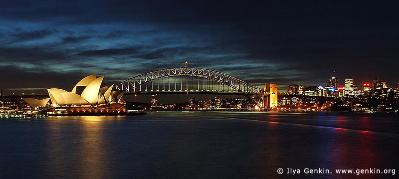 australia stock photography | Harbour Bridge and Opera House at Night, View from Mrs.Macquaries Chair, Sydney, New South Wales, Australia, Image ID AUHB0005