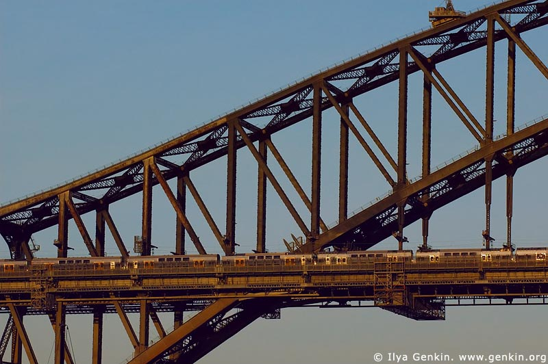 australia stock photography | Train on The Harbour Bridge, Sydney, New South Wales, Australia, Image ID AUHB0008