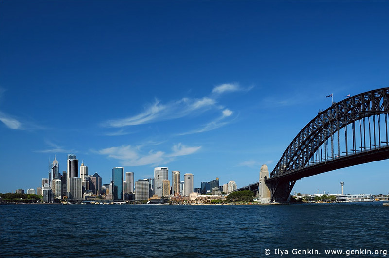australia stock photography | Sydney City Skyline and Harbour Bridge, Sydney, New South Wales, Australia, Image ID AUHB0017