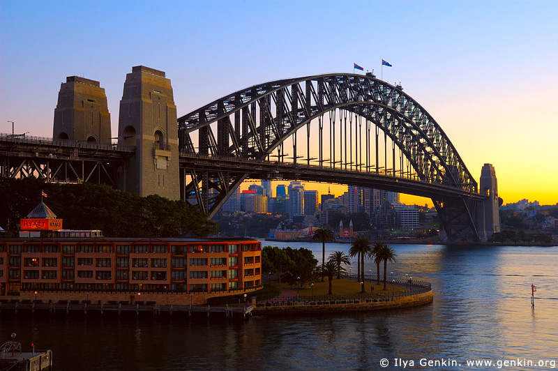 australia stock photography | Sydney Harbour Bridge and The Park Hyatt Hotel at sunrise, Sydney, New South Wales, Australia, Image ID AUHB0019