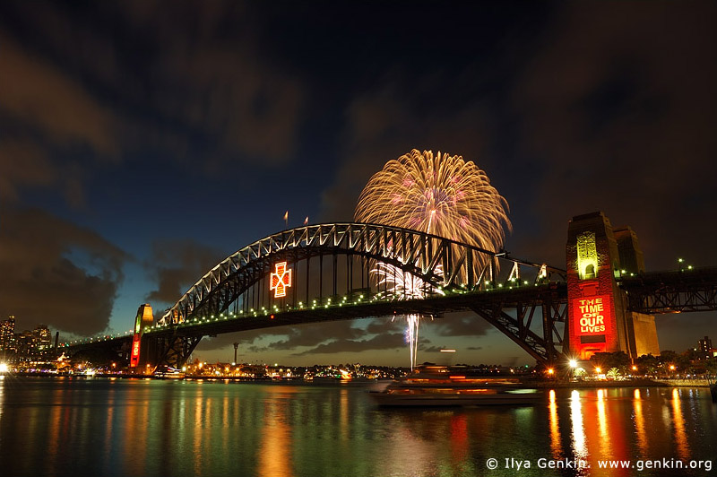 australia stock photography | New Year Eve Fireworks over Sydney Harbour Bridge, View from Kirribilli, Sydney, New South Wales, Australia, Image ID AUHB0021