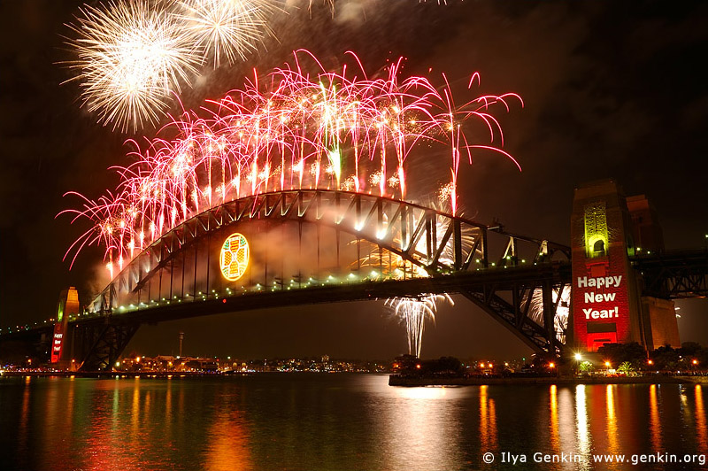 australia stock photography | New Year Eve Fireworks over Sydney Harbour Bridge, View from Kirribilli, Sydney, New South Wales, Australia, Image ID AUHB0023