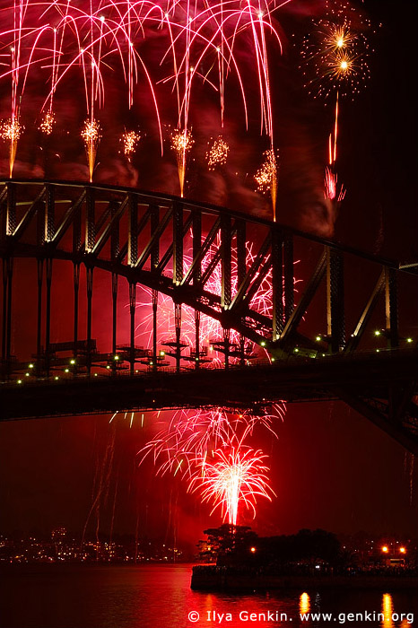 australia stock photography | New Year Eve Fireworks over Sydney Harbour Bridge, View from Kirribilli, Sydney, New South Wales, Australia, Image ID AUHB0024