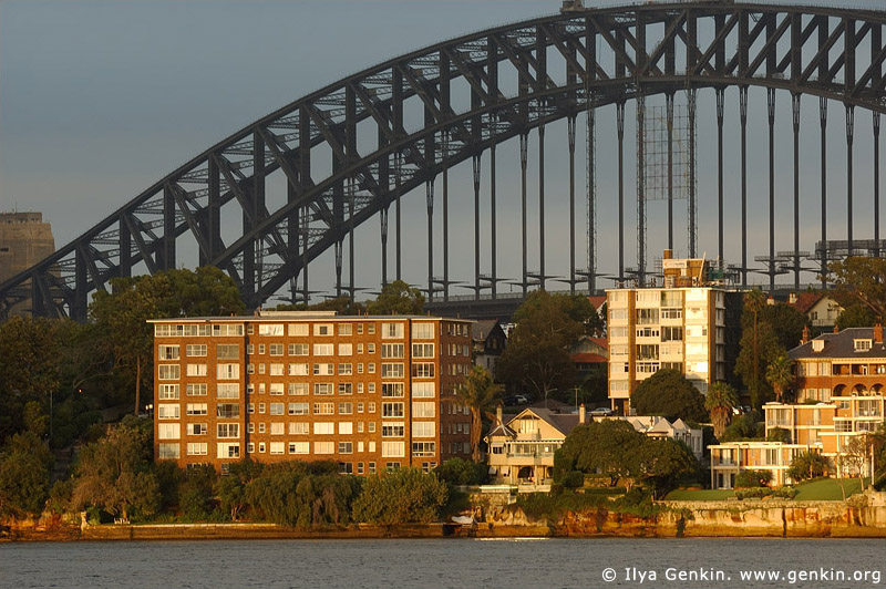 australia stock photography | Sydney Harbour Bridge and Apartments at Kirribilli at Dawn, View from Cremorne Point, Sydney, New South Wales, Australia, Image ID AUHB0027