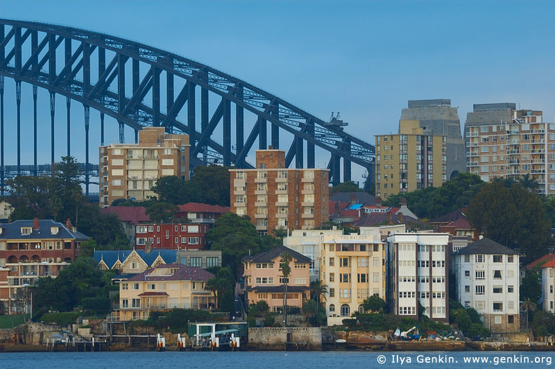 australia stock photography | Sydney Harbour Bridge and Apartments at Kirribilli at Dawn, View from Cremorne Point, Sydney, New South Wales, Australia, Image ID AUHB0028