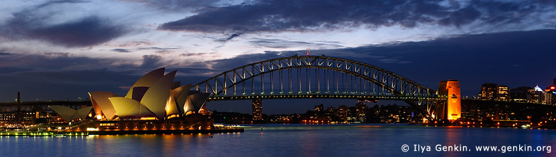 australia stock photography | Harbour Bridge and Opera House at Night, Mrs.Macquaries Chair, Sydney, New South Wales (NSW), Australia, Image ID AUHB0035