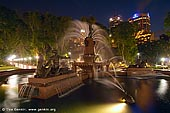 australia stock photography | Archibald Fountain after Sunset, Hyde Park, Sydney, NSW, Australia, Image ID AU-SYDNEY-HYDE-PARK-0005. Hyde Park is located in the heart of Sydney's CBD and it is a very popular lunchtime spot for the city workers.