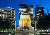 australia stock photography | ANZAC War Memorial at Night, Hyde Park, Sydney, NSW, Australia, Image ID AU-SYDNEY-HYDE-PARK-0006. The ANZAC War Memorial is located at the southern extremity of Hyde Park on the eastern edge of Sydney's central business district, and it is the focus of commemoration ceremonies on Anzac Day, Armistice Day and other important occasions. It was built as a memorial to the Australian Imperial Force of World War I. Fund raising for a memorial began on 25 April 1916, the first anniversary of the Australian and New Zealand Army Corps (ANZAC) landing at Anzac Cove for the Battle of Gallipoli. It was opened on 24 November 1934 by His Royal Highness Prince Henry, Duke of Gloucester.
