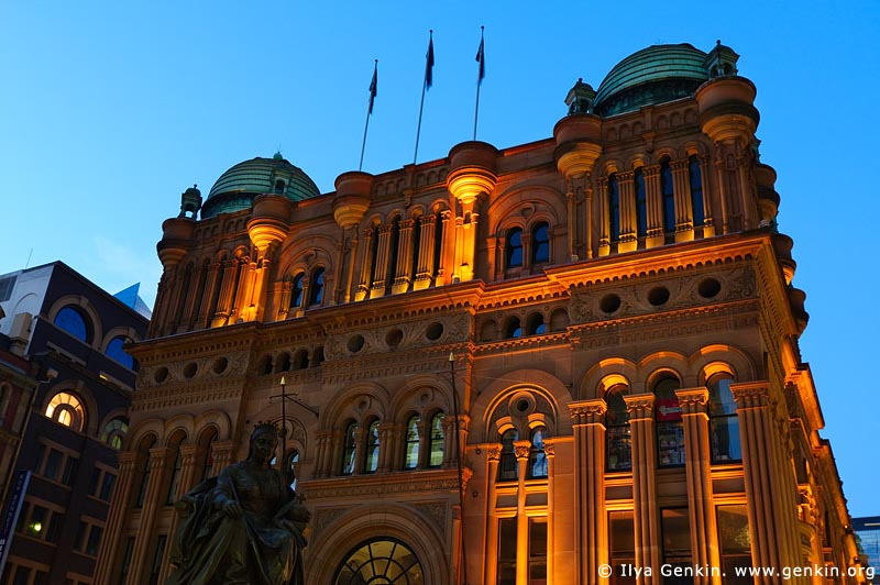 australia stock photography | Queen Victoria Building (QVB) at Dusk, Sydney, New South Wales (NSW), Australia, Image ID AU-SYDNEY-QVB-0004