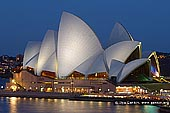 australia stock photography | Sydney Opera House from Cahill Way at Night, Sydney, NSW, Australia, Image ID AU-SYDNEY-OPERA-HOUSE-0014. View of the Sydney Opera House from the walkway at the top of Cahill Expressway in Sydney, NSW, Australia at night.