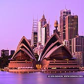 australia stock photography | Opera House and Sydney City at Dawn, Kirribilli, Sydney, New South Wales (NSW), Australia, Image ID AU-SYDNEY-OPERA-HOUSE-0018. Stock photo of the Sydney Opera House with Sydney City in a background at dawn as it was seen from Kirribilli, NSW, Australia when first light created beautiful pink mood.