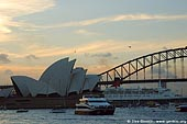 australia stock photography | The Sydney Opera House and Ocean Cruise Liner Queen Elizabeth 2 at Dusk, Sydney, New South Wales, Australia, Image ID AUOH0010.