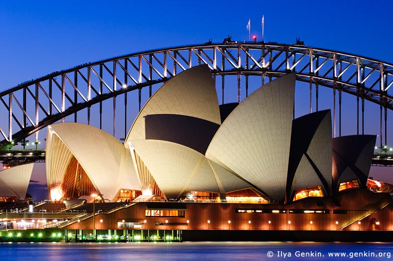 Sydney Opera House and Harbour Bridge At Dusk, Sydney, NSW, Australia
