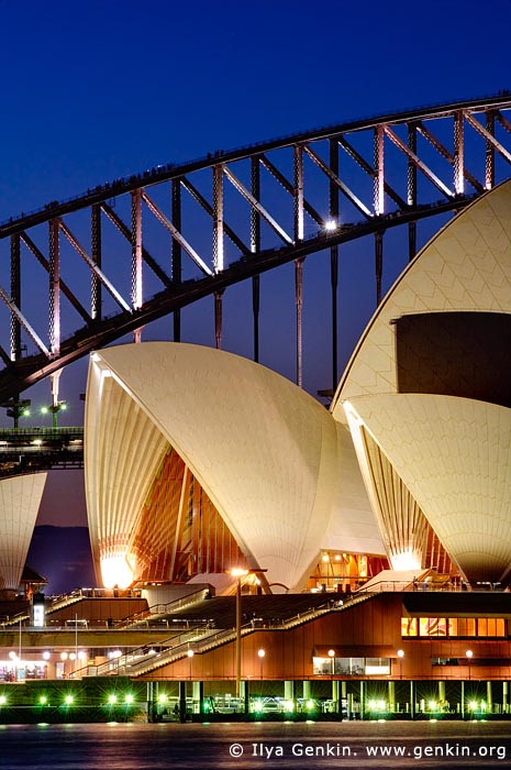 australia stock photography | Sydney Opera House and Harbour Bridge At Dusk, Sydney, NSW, Australia, Image ID AU-SYDNEY-OPERA-HOUSE-0002