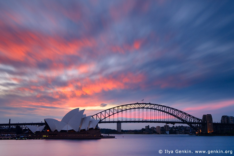 Sydney Opera House and Harbour Bridge At Sunset, Sydney, NSW, Australia