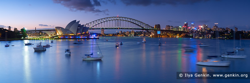 Harbour Bridge and Opera House at Night, View from Mrs.Macquaries Chair, Sydney, New South Wales, Australia