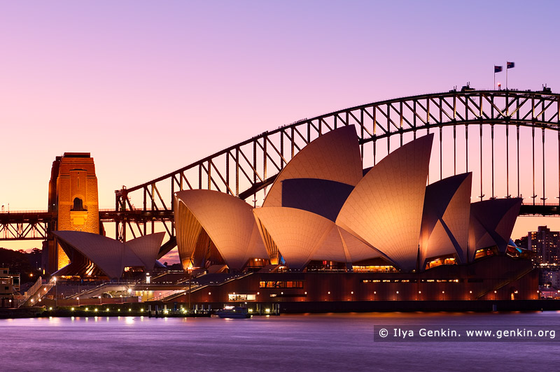australia stock photography | Sydney Opera House and Harbour Bridge after Sunset, Mrs Macquarie's Chair, Sydney, NSW, Australia, Image ID AU-SYDNEY-OPERA-HOUSE-0012