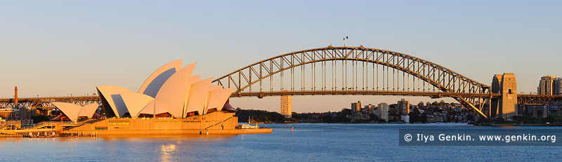 australia stock photography | Sydney Opera House and Harbour Bridge at Sunrise, Mrs Macquarie's Chair, Sydney, New South Wales (NSW), Australia, Image ID AU-SYDNEY-OPERA-HOUSE-0016