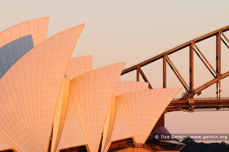 australia stock photography | Opera House and Harbour Bridge in the Morning, Mrs Macquarie's Chair, Sydney, New South Wales (NSW), Australia, Image ID AU-SYDNEY-OPERA-HOUSE-0017