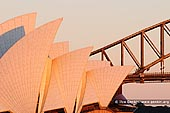 australia stock photography | Opera House and Harbour Bridge in the Morning, Mrs Macquarie's Chair, Sydney, New South Wales (NSW), Australia, Image ID AU-SYDNEY-OPERA-HOUSE-0017. Stock image of the close up view of the iconic Opera House and Harbour Bridge early in the Morning as it was seen from Mrs Macquarie's Chair, Sydney, New South Wales (NSW), Australia.