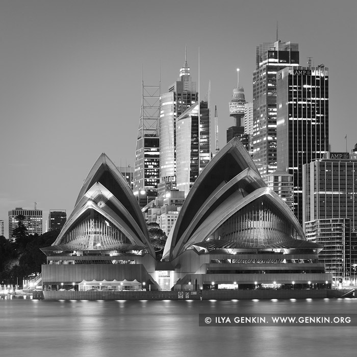 australia stock photography | Sydney Opera House and City at Night in Black and White, Kirribilli, Sydney, New South Wales (NSW), Australia, Image ID AU-SYDNEY-OPERA-HOUSE-0022